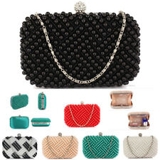 Ladies Clutch Box Crystal Beaded Hard Case Womens Evening Party Clutch Bag New