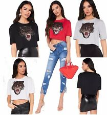 New Womens Embellished with Tiger  Sequin Applique  Cropped T Shirt Ladies Top