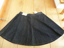 NEXT BLACK RAW DENIM SKATER MINI SKIRT FLARED 6 8 BNWT