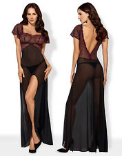 OBSESSIVE Sedusia Luxury Decorative Sheer Gown/Nightdress and Matching Thong Set