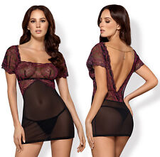 OBSESSIVE Sedusia Luxury Decorative Sheer Chemise and Matching Thong Set