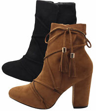 Ladies Faux Suede Ankle Boots Womens Slip on Fashion High Chunky Heel Biker Shoe