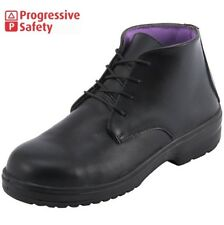 Ladies PSF Black Safety Womens Leather Steel Toe Cap S3 Boots Shoes Trainer Size
