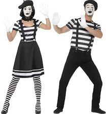 Couples Ladies AND Mens French Mime Circus Carnival Fancy Dress Costumes Outfits