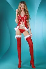LIVCO CORSETTI Christmas Lady Sheer Babydoll, Hold Ups and Matching G-String Set