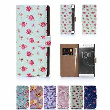 PU Leather Floral Design Book Wallet Case Cover For Sony Xperia L1