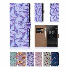 PU Leather Floral Design Book Wallet Case Cover For Sony Xperia XA1