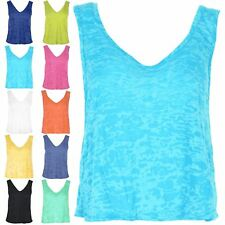 Womens Ladies Muscle Vest Burnout Plus Size V Neck Front V Back Tank Top UK 8-22