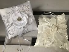 White or Ivory FLOWER Wedding Ring Cushion Bearer Pillow Beaded Lace Diamanté