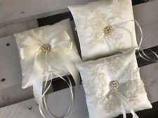 FAB IVORY Wedding Ring Cushion Bearer Pillow Sparkly Beaded Floral Lace 3 Styles