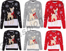 NEW WOMEN'S KIDS UNISEX CHRISTMAS JUMPER NOVELTY DEER XMAS JUMPER SWEATER