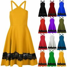 Ladies Womens Elasticated Sleeveless Lace Halter Neck Skater Dress Mini Top