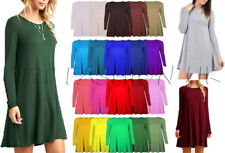 Women Ladies Stretch Long Sleeve Swing Dress Flared A Line Skater Dress Top 8-26
