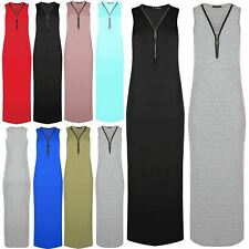 Ladies Womens Sleeveless Party Deep V Plunge Zip Up Bandage Bodycon Maxi Dress