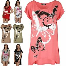 Womens Butterfly Print Sequins Glitter Cap Sleeve Hi Lo Dip Hem Baggy Dress Top