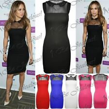 New Womens Celeb Jennifer Lopez Collar Mesh Insert Bodycon Pencil Mini Dress Top