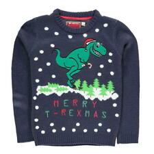 KIDS BOYS STAR NAVY BLUE DINOSAUR T-REX MERRY CHRISTMAS XMAS JUMPER SWEATER TOP