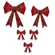 Christmas Tartan Bows Tree Hanging Decoration Party Festive Red Green Xmas