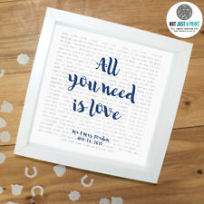 The Beatles 'All You Need Is Love' -  Framed Lyrics Poster - Personalised Gift