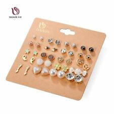 20 Pairs/lot Punk Fashion Stud Earrings Set For Women Elegant Mixed Crystal Flow