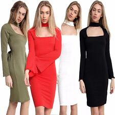 New Womens Ladies Long Sleeves Bubble Fabric Square Choker Neck Flute Midi Dress