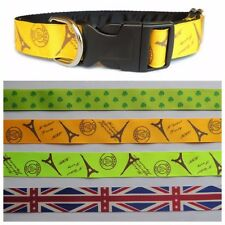 Clip dog collar 1 inch. Side release. Countries - UK Flag, Paris, Lucky Shamrock