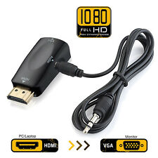 1080P HDMI to VGA Converter Adapter 3.5mm Audio Jack Black For PC DVD Laptop US