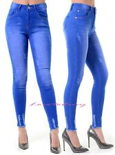 Ladies Slim Skinny Light Bright Blue Distressed Stretch Fitted Jeans Sizes 6-14.