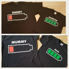 MUMMY & SON Novelty Battery Tshirt. Matching Family outfit. Funny Christmas gift