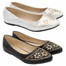 LADIES FLAT PUMPS WOMENS METALLIC STUDDED BALLET BALLERINA DOLLY BRIDAL SHOES