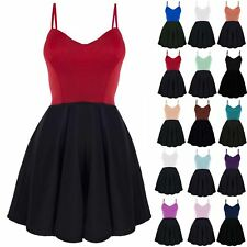 New Womens Camisole Strappy Sleeveless Padded Boobtube Contrast Flare Mini Dress