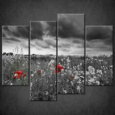 LANDSCAPE POPPIES FIELD CANVAS PRINT PICTURE WALL ART FREE FAST DELIVERY