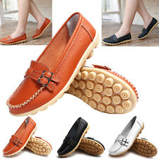 Womens Ladies Soft Leather Work Casual Ballet Slip On Loafer Flat Shoes Size UK