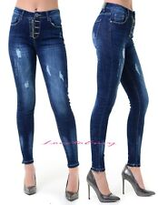 Ladies Slim Skinny Dark Wash Faded Distressed Stretch Fitted Jeans Sizes 6-14.