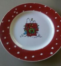 Peanuts Gibson 71701.01 Xmas  Snoopy Woodstock 10.5 Inch Plate