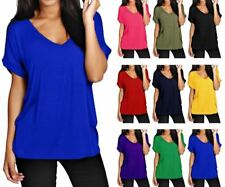 Ladies Baggy Oversize Fit V Neck Turn Up Sleeve Top Loose Batwing T-Shirt Tops