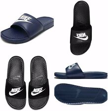 c019359e179a Nike Mens Benassi Jdi Flip Flops Slides Pool Beach Sandals Sliders Black  Navy