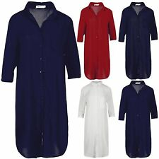 Ladies Women Chiffon Pocket Baggy 3/4 Sleeve Collared Oversized Midi Shirt Dress
