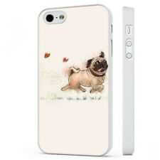 Pug Dog Butterfly Art WHITE PHONE CASE COVER fits iPHONE