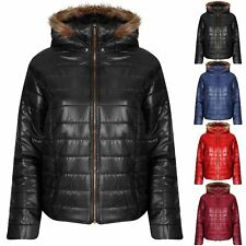 Womens Ladies Zip Up Faux Fur Quilted Padded Puffer Bubble Coat Hooded Jacket