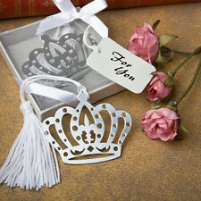 Silver Crown Design Bookmark Favours With White Tassel ~ Favors & Gifts