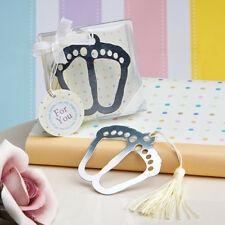 Baby Feet Themed Bookmark With Ivory Tassel - Unisex Baby Shower Favors & Gifts
