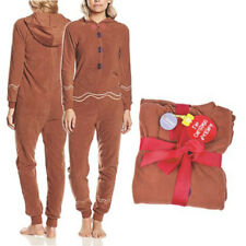 Womens Ladies Brown Hooded All In One Jumpsuit Playsuit Loungewear PJ Gift Size