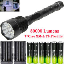 80000LM Police Tactical XM-L 7x T6 LED 5 Modes 18650 Flashlight Torch Lamp