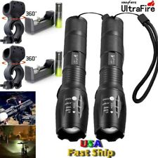 X800 Tactical 50000LM 5 Modes T6 LED Flashlight+18650+Charger+Bike Mount To