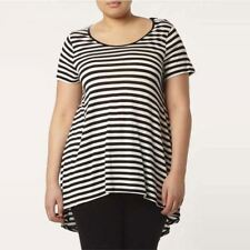 Women Round Neck Short Sleeve Black-White Color Striped Casual Wear T-shirt