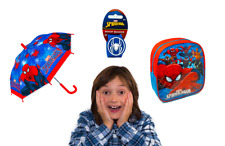 Marvel Spiderman Boys Umbrella - Bundle Set - Watch and Wallet Set, Snap Band