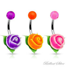 Piercing nombril silicone acrylique fleur rose violet orange