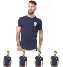 DI MODA DFND London Mens Bow Cut And Sew T-Shirt Navy Small Chest 36-38""