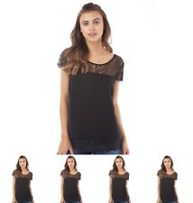 """BRAND Only You Womens Lin Lace Short Sleeve Top Black UK 6 Euro 34 Bust 33"""" Siz"""